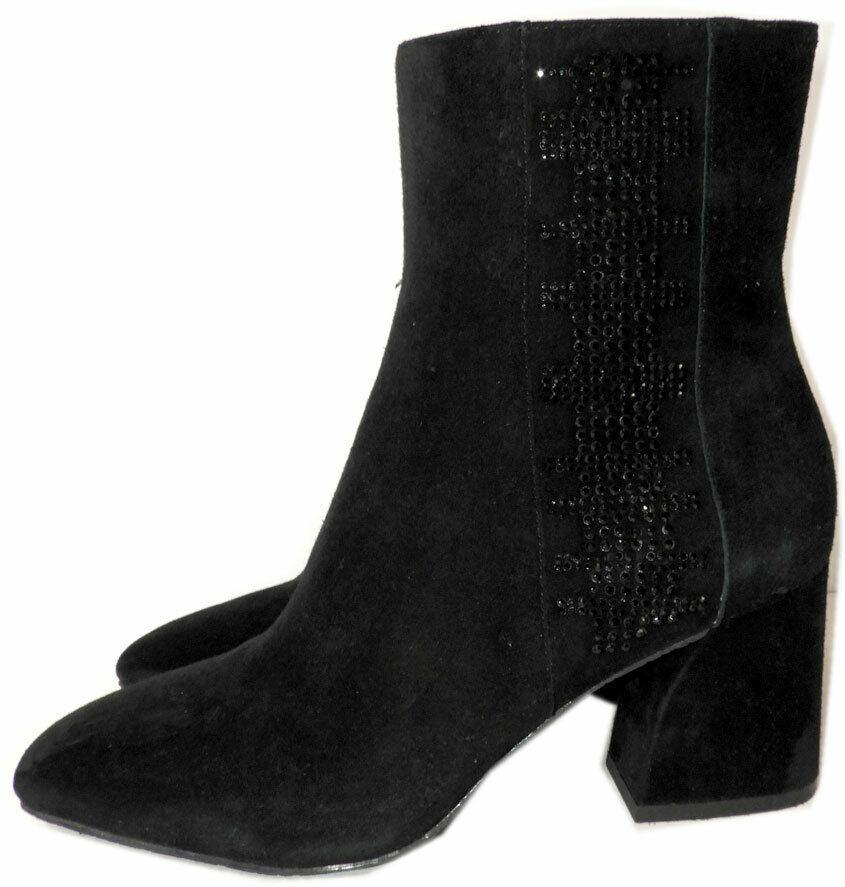 Donald J Pliner Black Suede Ankle Booties Back Crystals Boot Sz 7 Boots