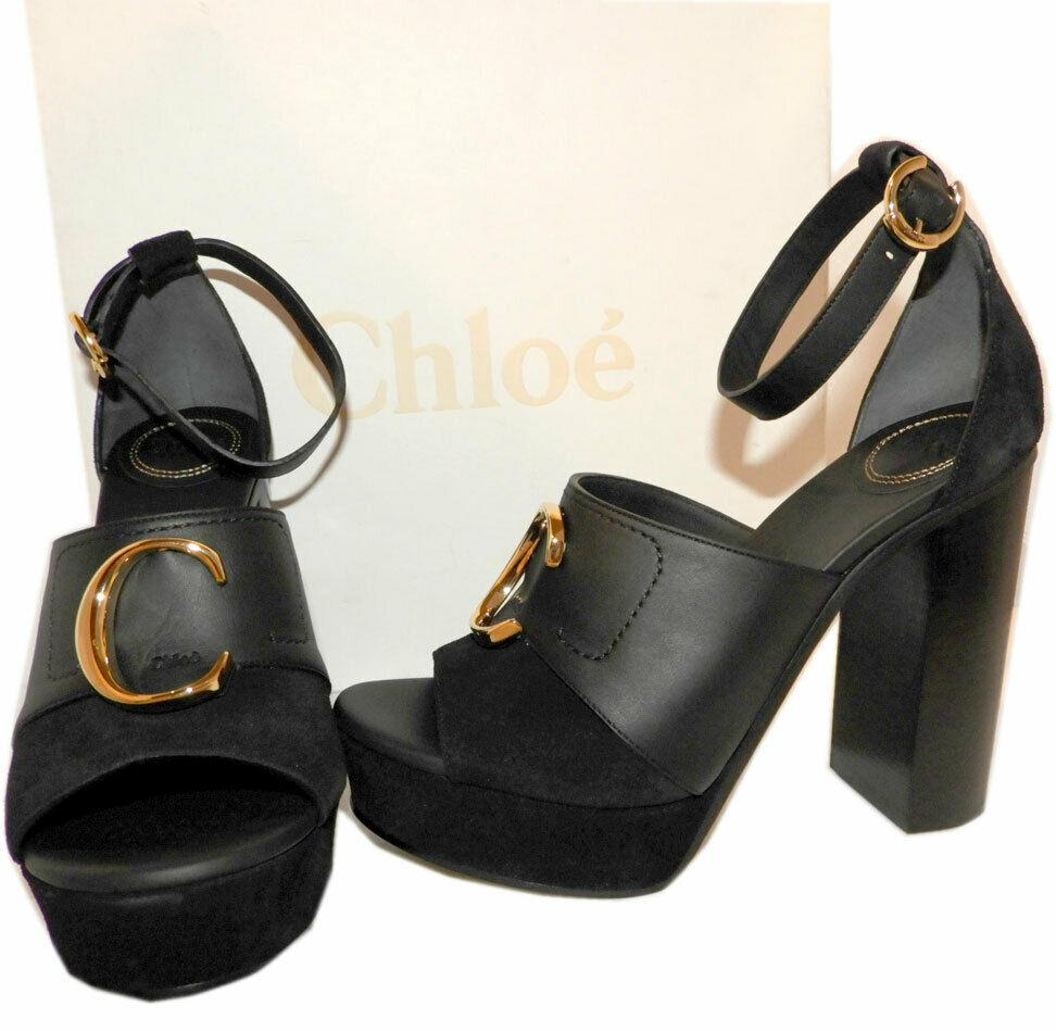 Chloe Kingsley Buckled Leather Platform Sandals Ankle Strap Black Pumps Shoes 38