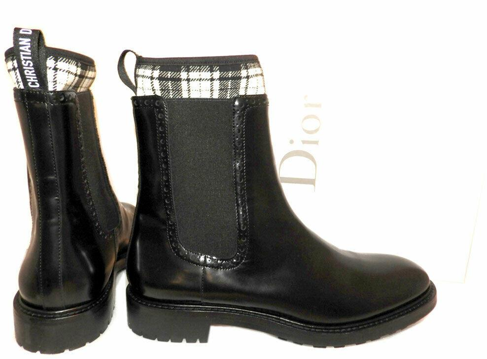 $1290 Christian Dior D-order Chelsea Boot Ankle Black Booties 39 Shoes