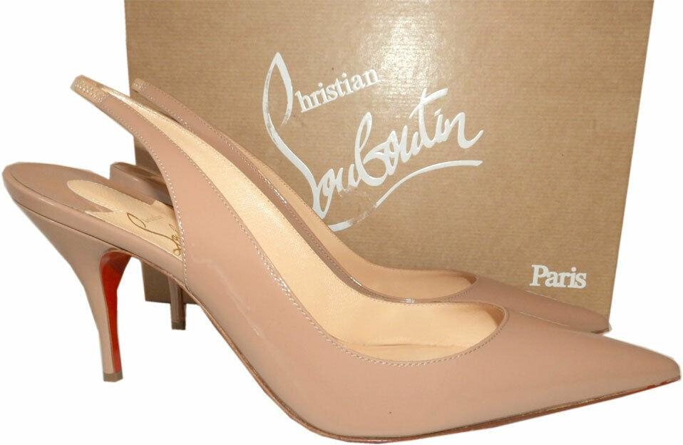 Christian Louboutin Clare Slingback Pointed Toe Pumps Nude Patent Shoes 37.5