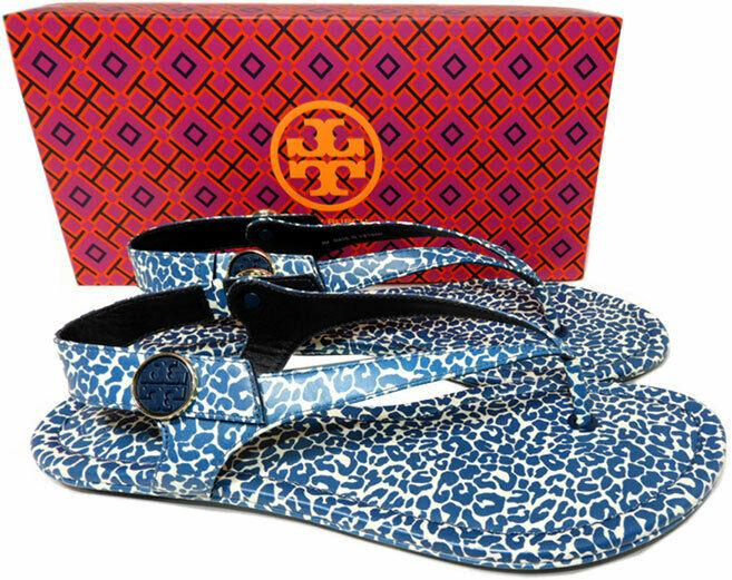 Tory Burch MINNIE Travel Thongs Sandals Tory Navy Clouded Ballet Shoes 10.5