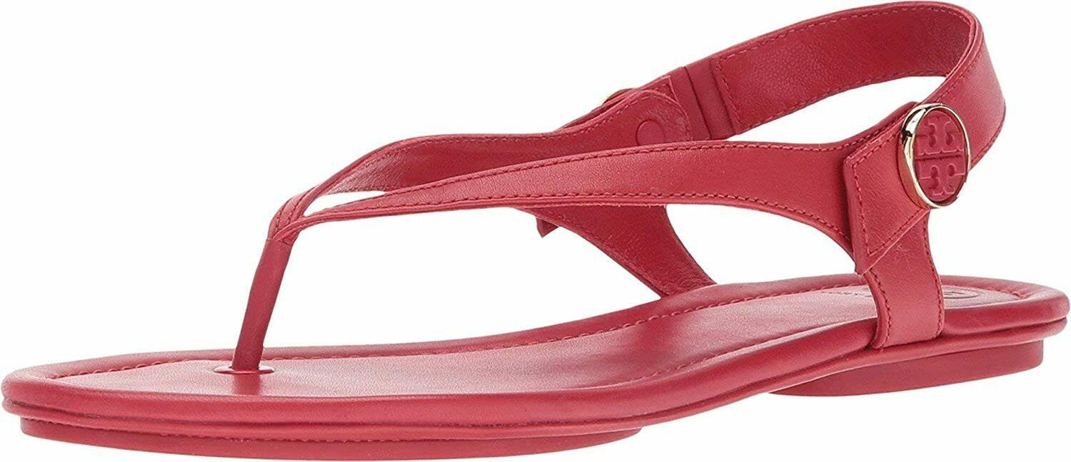 Tory Burch MINNIE Travel Thongs Sandals Red Leather Ballet Shoes 8 Flip Flops