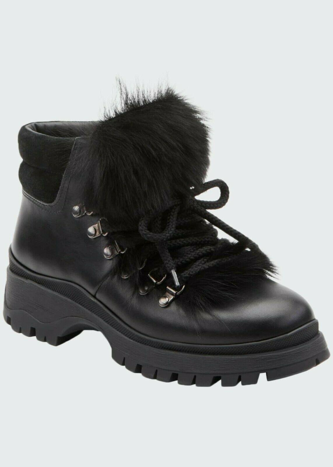 $990 Prada Black Lug-Sole Hiker Boots Shearling Fur Lined Lace Up Booties 37