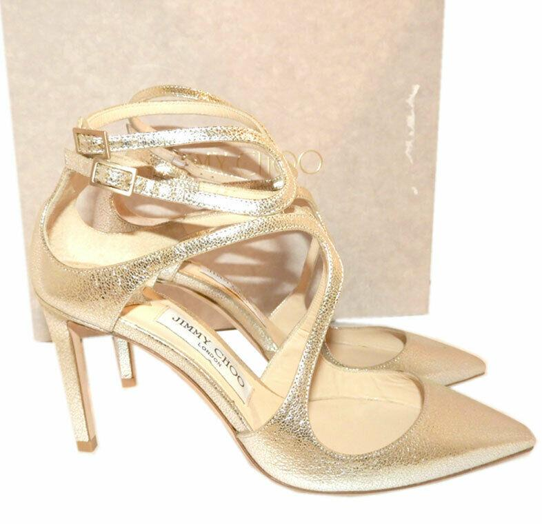 Jimmy Choo Lancer 85 Metallic Cracked-leather Pumps Platinum Shoes 37