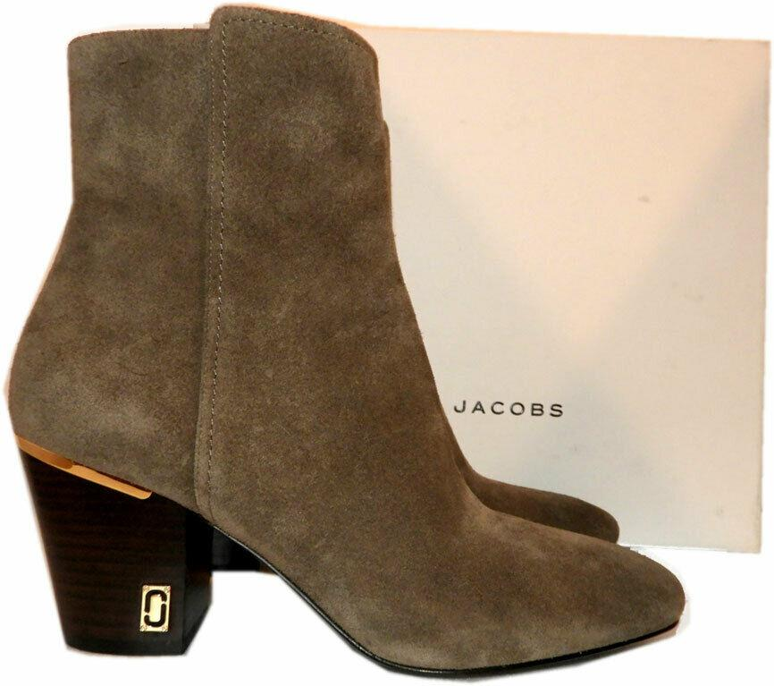 $398 Marc Jacobs Aria Status Ankle Boots Taupe Suede Ankle Booties Shoes Sz 38
