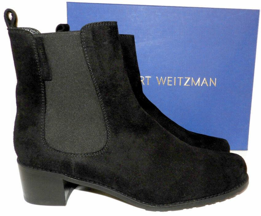 $495 Stuart Weitzman Boots Laine Suede Gored Ankle Booties 8.5 Pull On Boot