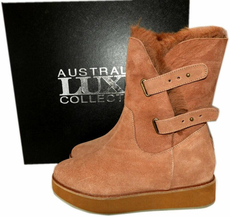 Australia Luxe Collective Bushmill Suede Boots Booties 39 - 8 Fur Lined Boot