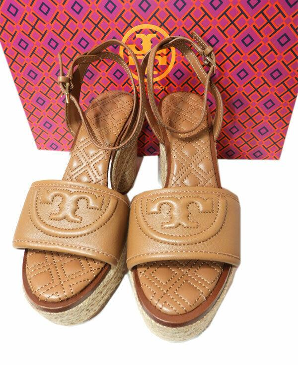 Tory Burch Tan Sandals Laser Cut Leather Roselle Espadrilles Wedges 5.5