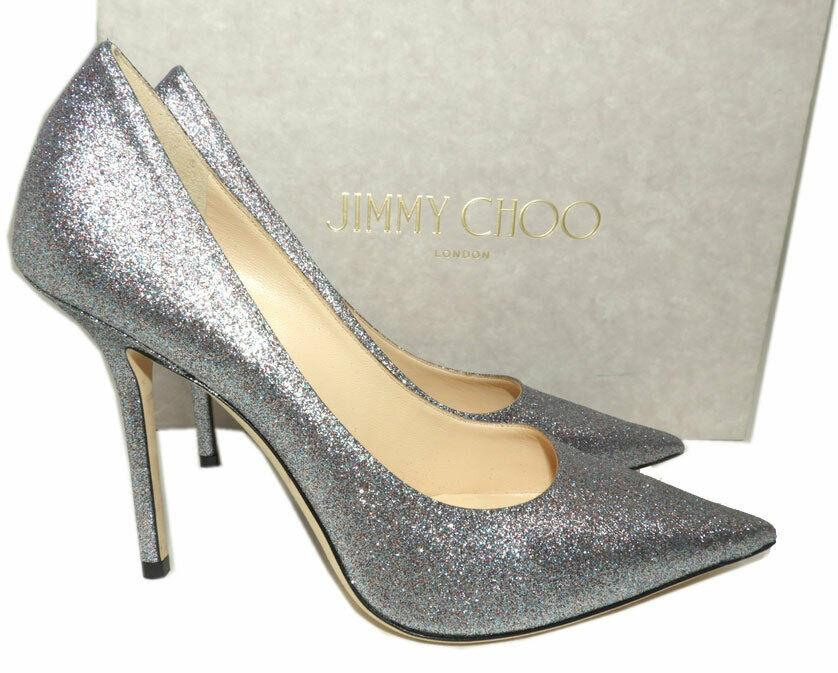 Jimmy Choo LOVE 100 mm Pointy Toe Pumps Silver Glitter Shoes 38