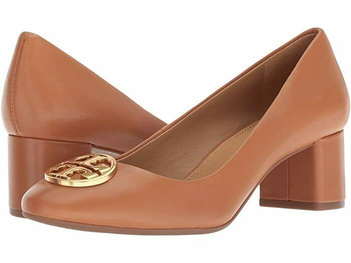 Tory Burch Chelsea 50 Mm Tan Leather Gold Logo Pumps Shoes 10.5