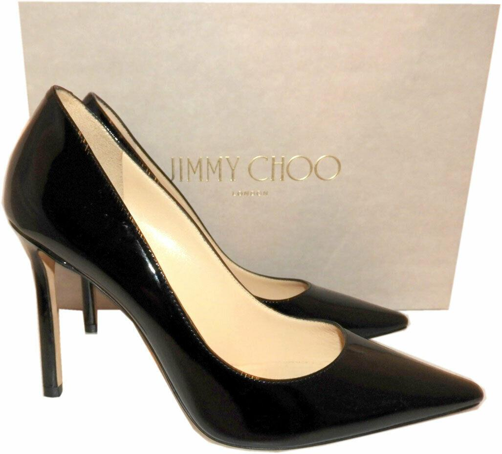Jimmy Choo Romy Pumps Pointy Toe Black Patent Leather Heels Shoes 38