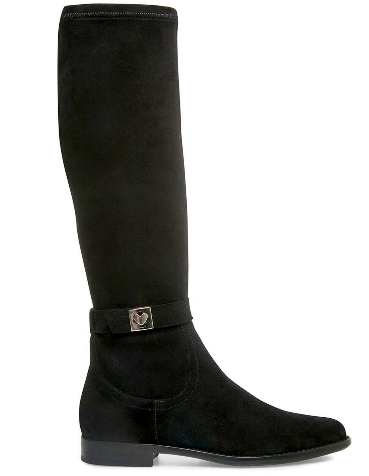 Kate Spade Verona Stretch Suede Knee Boots Flat Black Booties 9