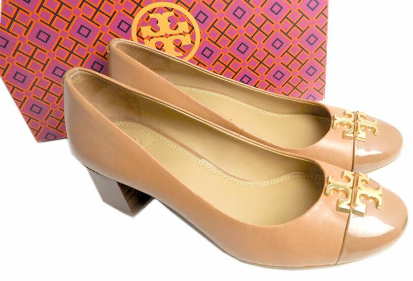 Tory Burch Everly Cap Toe Pumps Beige Leather Gold Logo Pump 9 Shoes 39