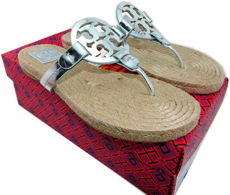 Tory Burch Miller Thongs Espadrilles Shoes Flip Flops 5.5 Slides Mules Sandals