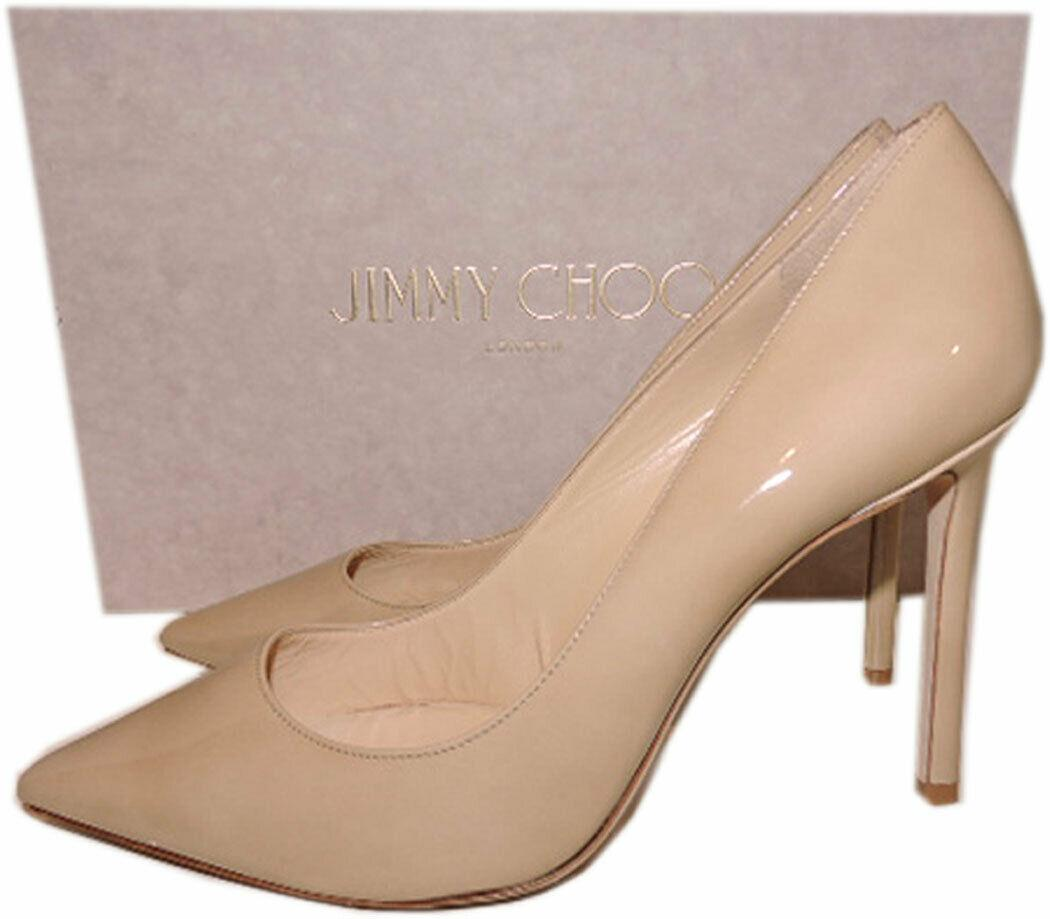 Jimmy Choo Romy Pumps Pointy Toe Beige Nude Patent Leather Heels Shoes 37