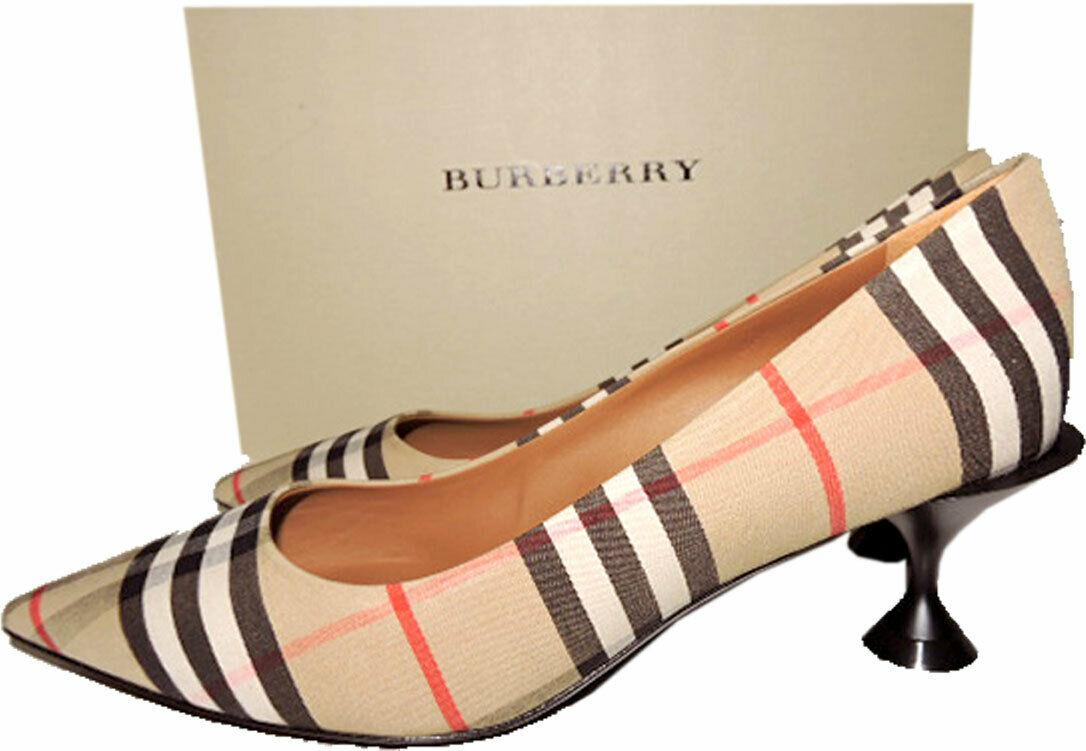Sz 38 Burberry Lillyton House Check Pumps Low Heel Pointy Toe Shoes