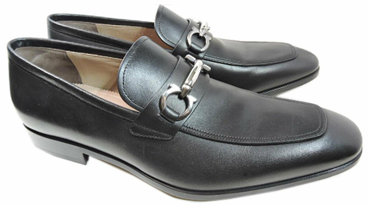 $660 Salvatore Ferragamo Black Benford Gancio Bit Loafers Shoes Moccasins 10 E