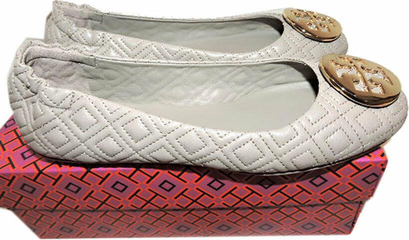 Tory Burch Quilted Minnie Leather Ballet Flats Logo Storm Ballerina Shoes Sz 8