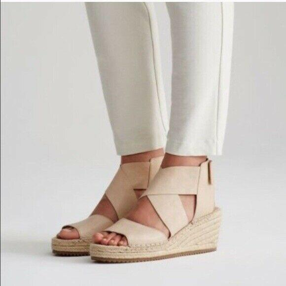 Eileen Fisher WILLOW Espadrilles Wedge Sandals Beige Leather Criss Cross 8.5