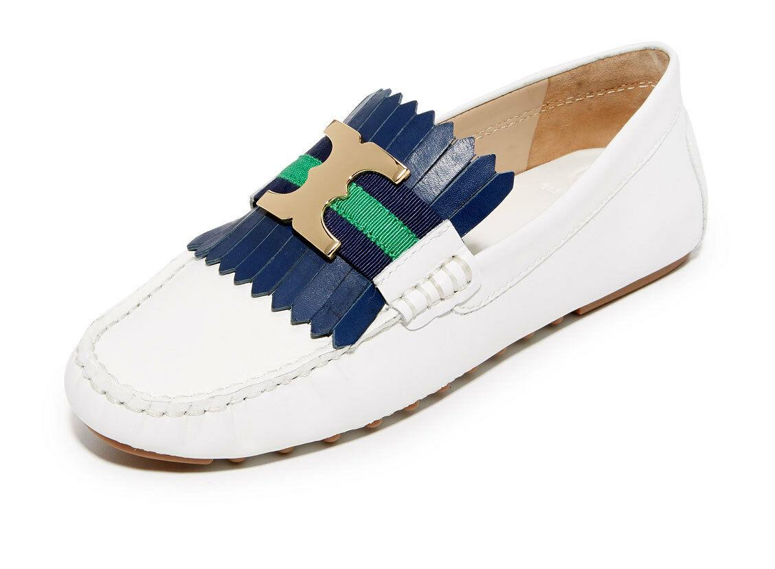 Tory Burch White Fringe GEMINI Driving Loafers Flats Moccasins Ballet Shoes 7