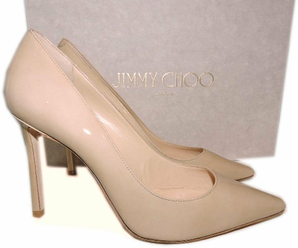 Jimmy Choo Romy Pumps Pointy Toe Beige Nude Patent Leather Heels Shoes 39