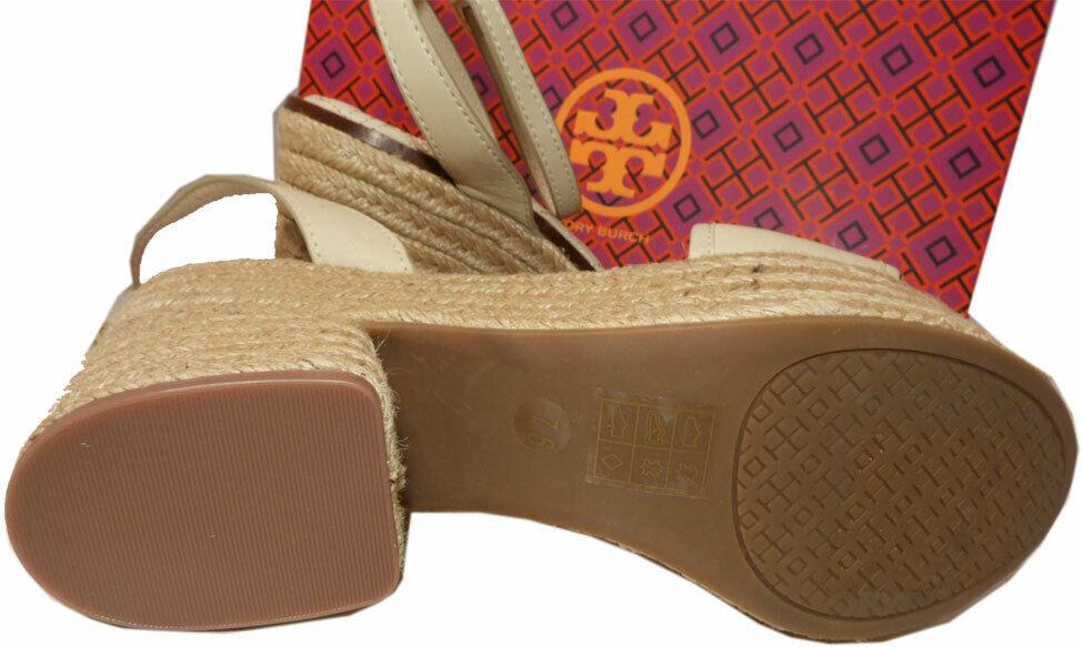 Tory Burch Marion Beige Quilted Espadrille Slingbacks Mules Sandals Shoes 8.5 - Click Image to Close
