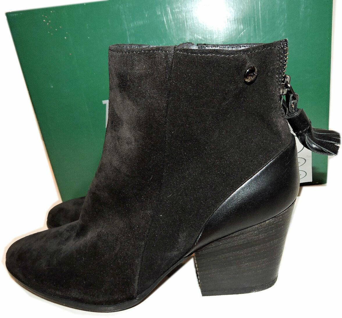 $398 Paul Green Ankle Boots Jada Black Suede Booties 7.5 Back Zipper Shoes Boot