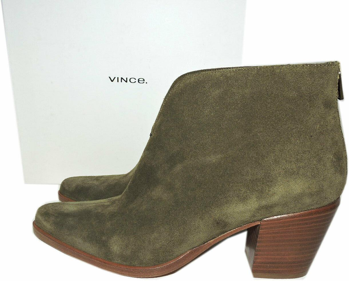 $395 VINCE Havana Notch Bootie Suede Green Boot Booties 40 Zipper Boot