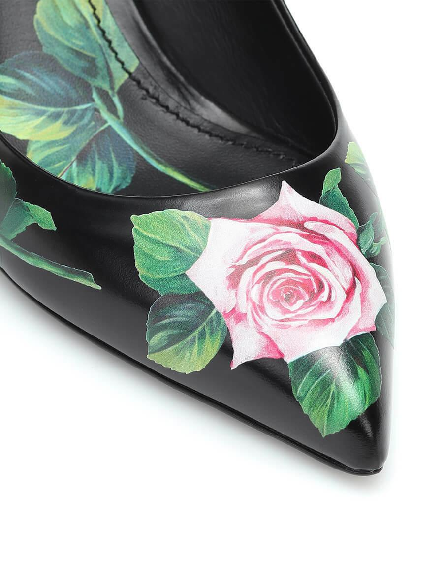 DOLCE & GABBANA Lori Pumps Black Leather Roses Heels Shoes 39.5
