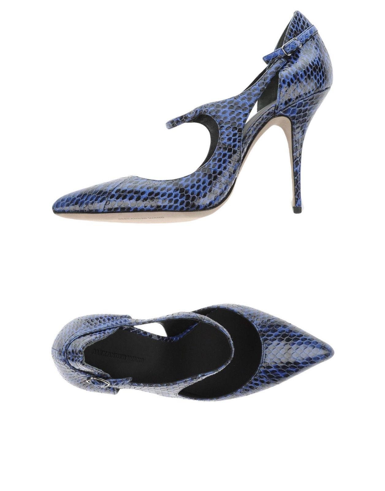 "$590 Alexander Wang ""inka"" Blue Snake Leather Pump Pointed Toe 37 Ankle Strap"