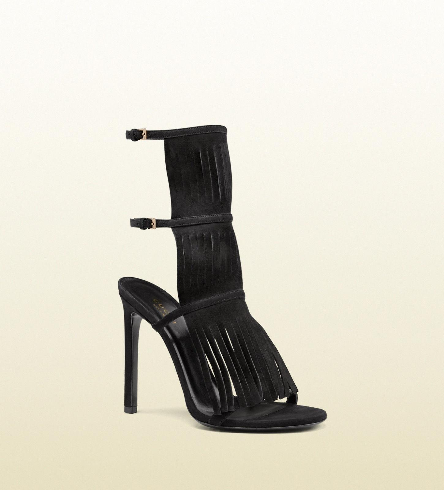 Gucci Black Suede Becky High Heel Fringe Sandal 36 Heels Double Ankle Buckle